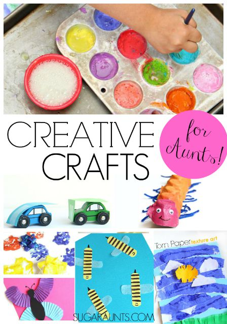 Creative play crafts, and activities for Aunts to do with nieces and nephews while building memories and having fun!