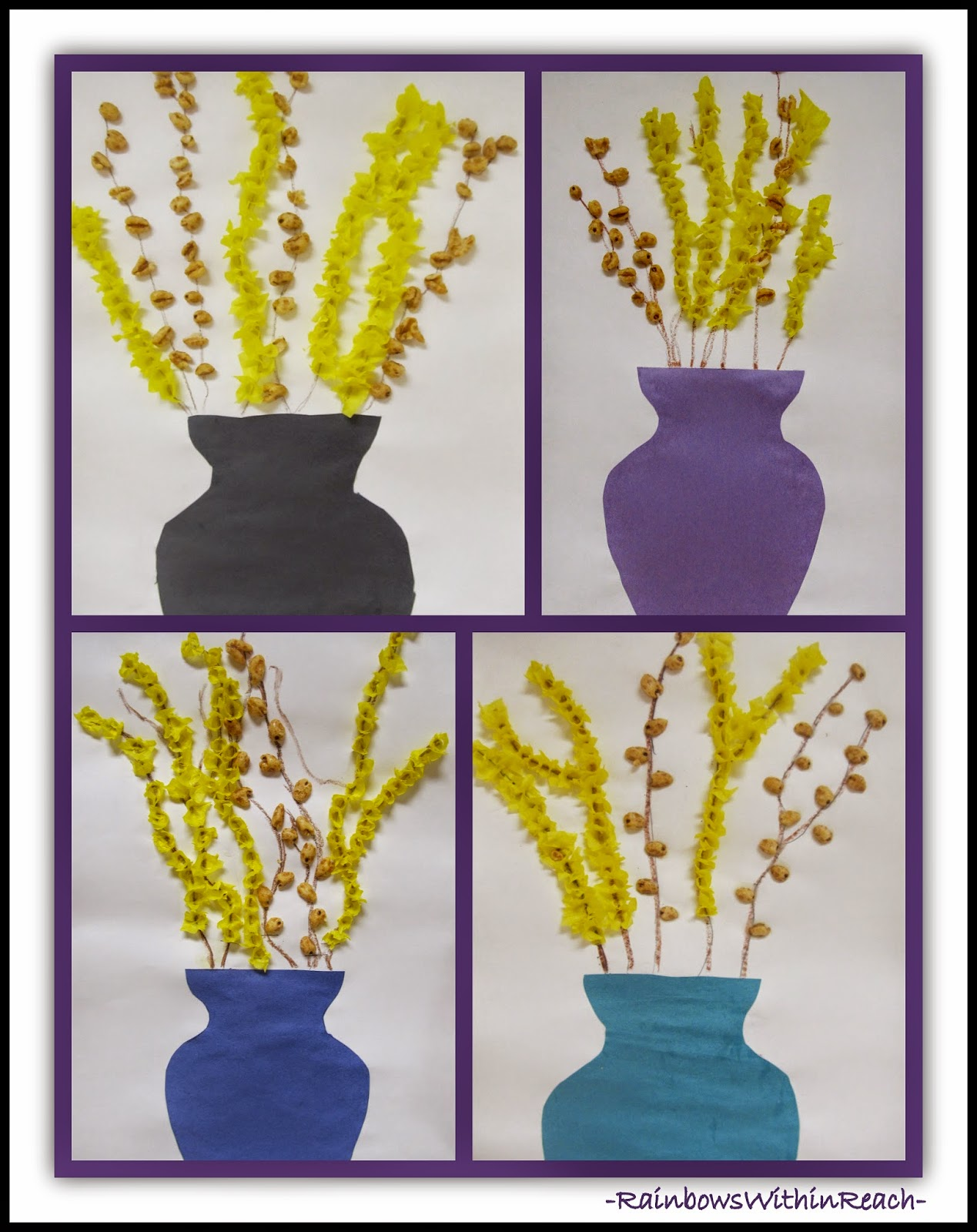 3D Multi-media Spring Forsythia in Vase at RainbowsWithinReach