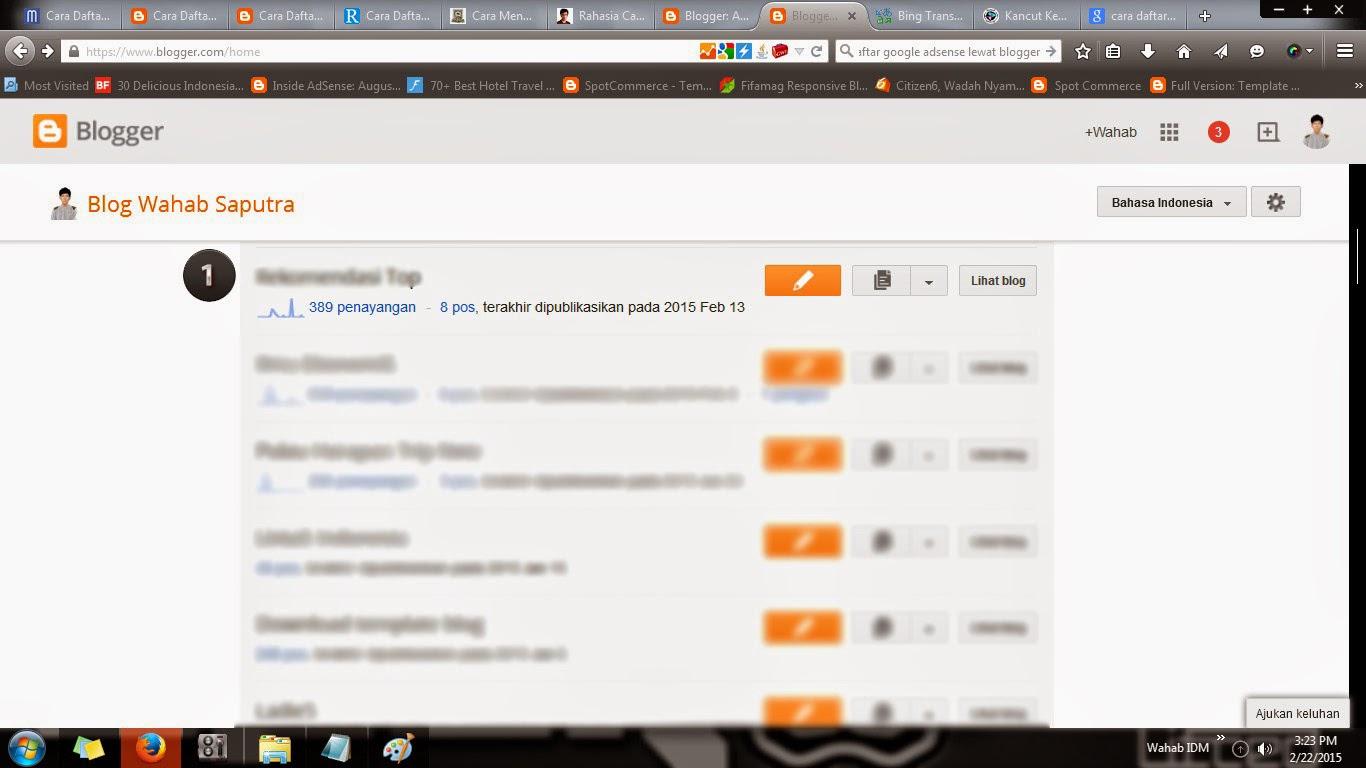 Pendaftaran Google AdSense Lewat Blogger Blogspot