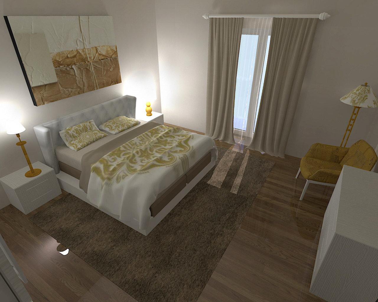 Camera Da Letto Con Parquet. Beautiful Immagine Di Una Piccola ...