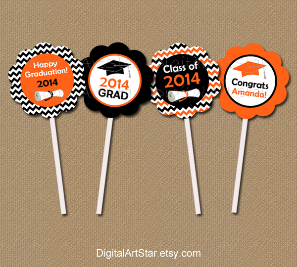 printable chevron graduation cupcake toppers with diplomas