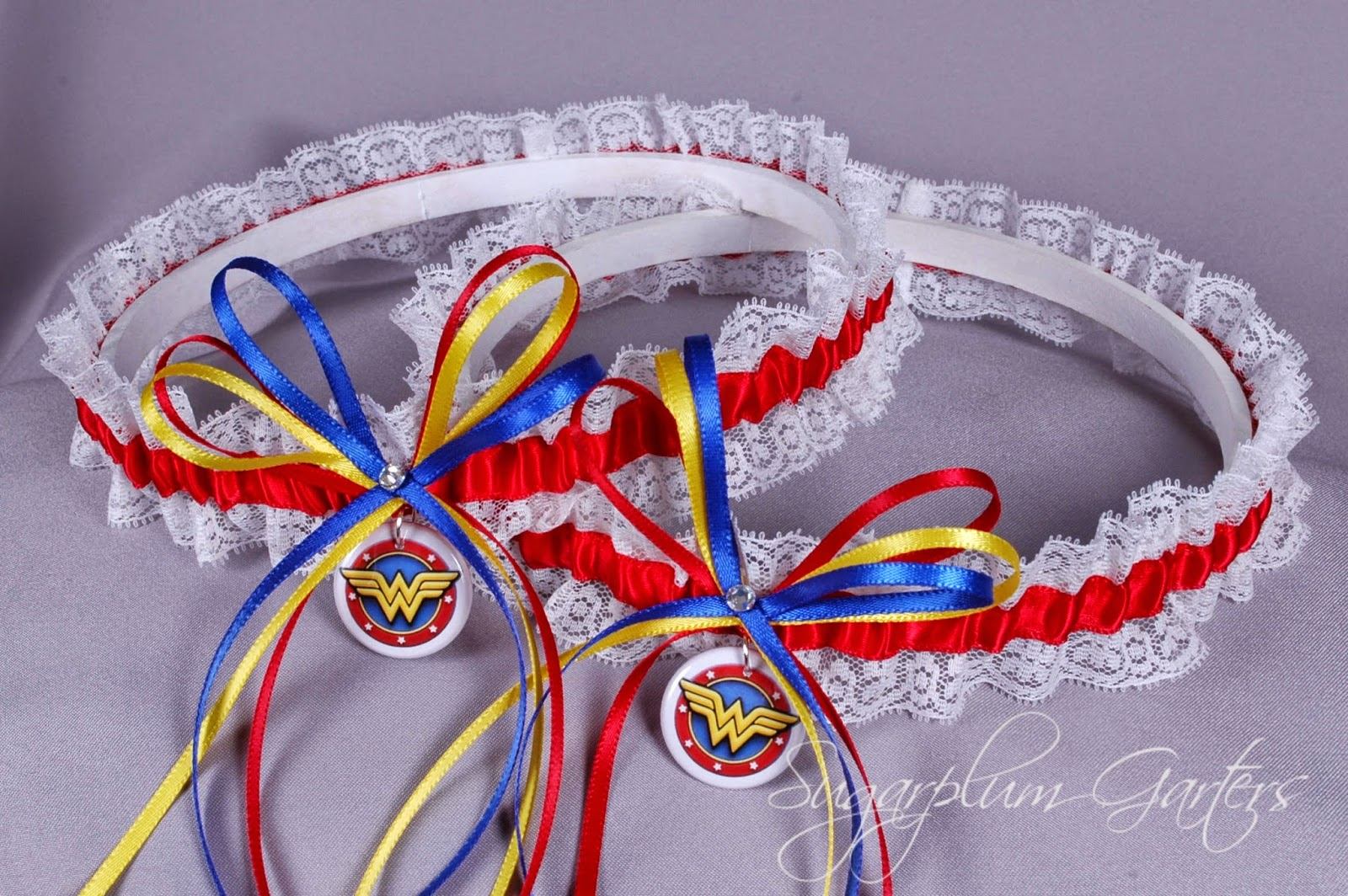 Wonder Woman Lace Wedding Garter Set by Sugarplum Garters