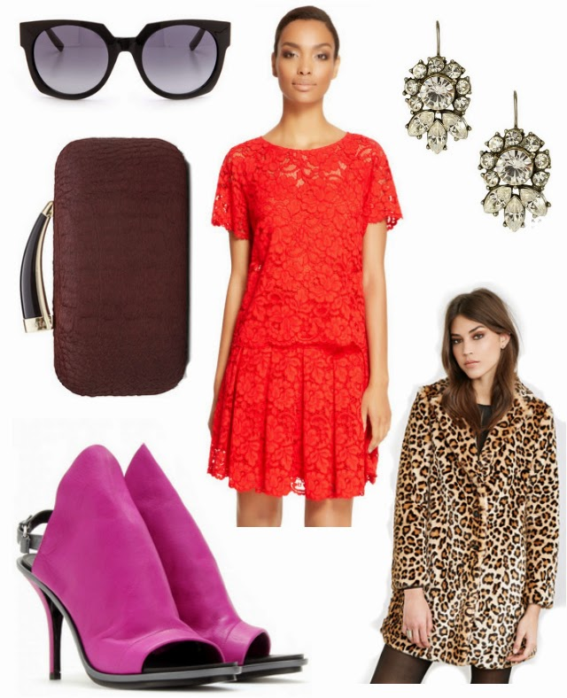 holiday outfit idea leopard coat, lacde dress, pink heels