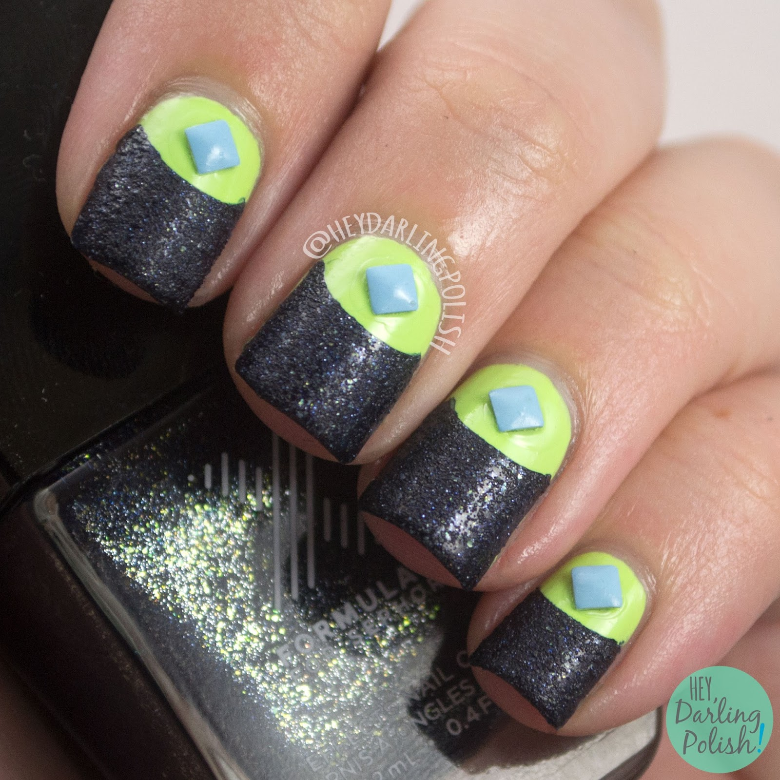 nails, nail art, nail polish, textured, studs, half moon, hey darling polish, naillinkup, green, blue,