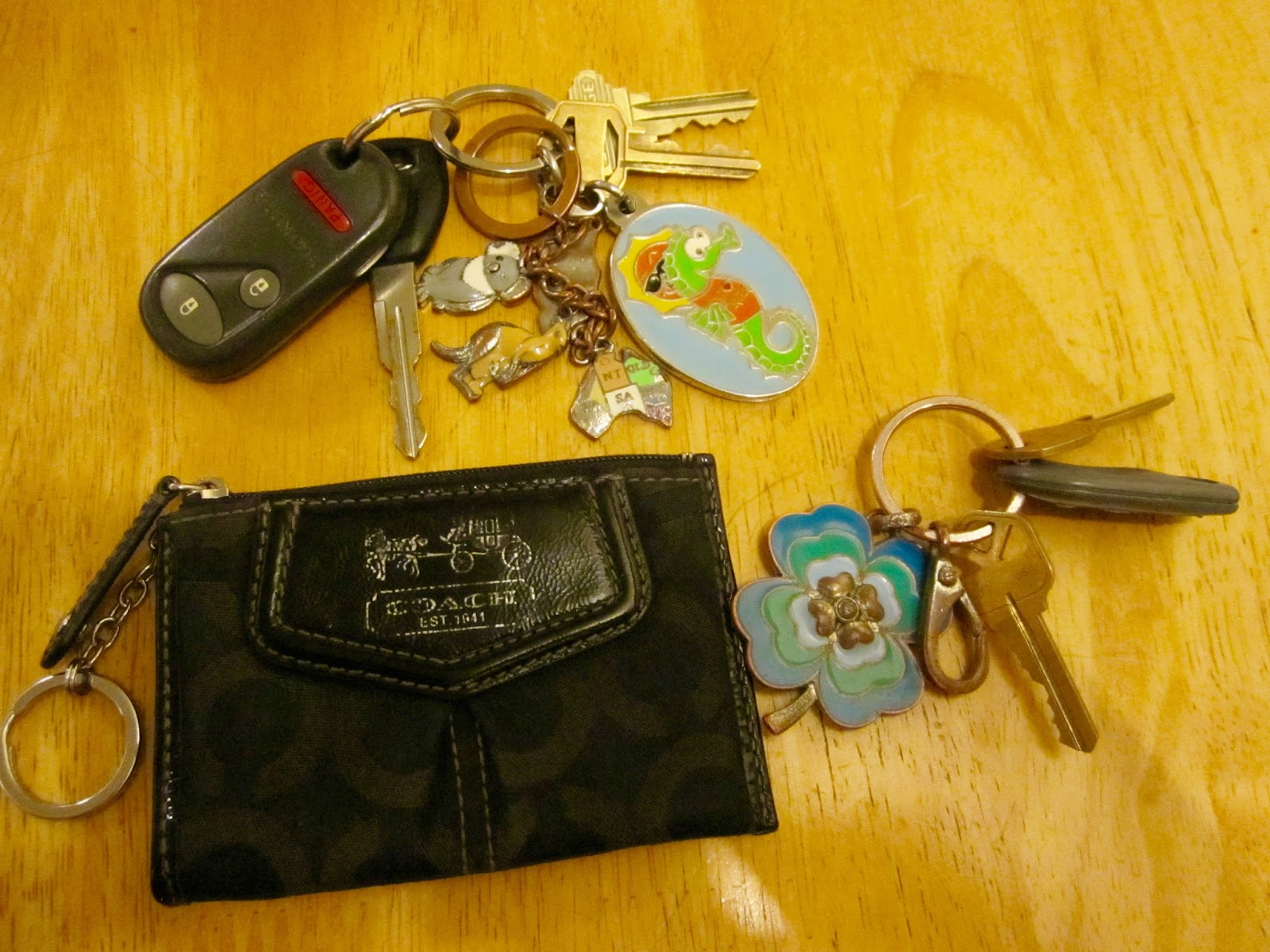 3b4ca5ce5b5 I got this Coach keychain pouch as a gift in college. I use it for my work  key card. I have my apartment keys (fob, door key, mail key) on one  keychain ...