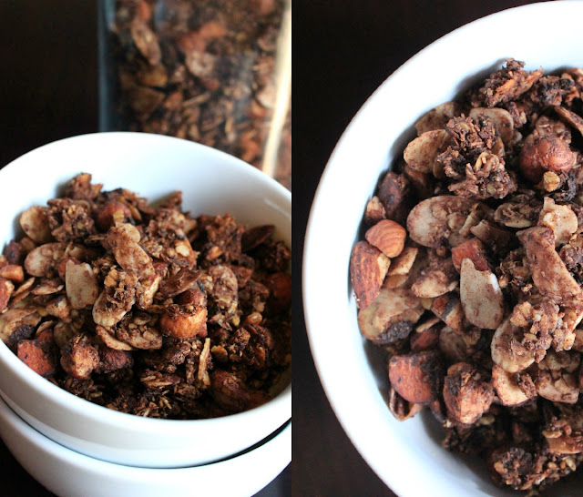 Vegan chocolate granola with tons of coconut, hazelnuts and almonds. Lightly sweetened with maple syrup and orange juice.