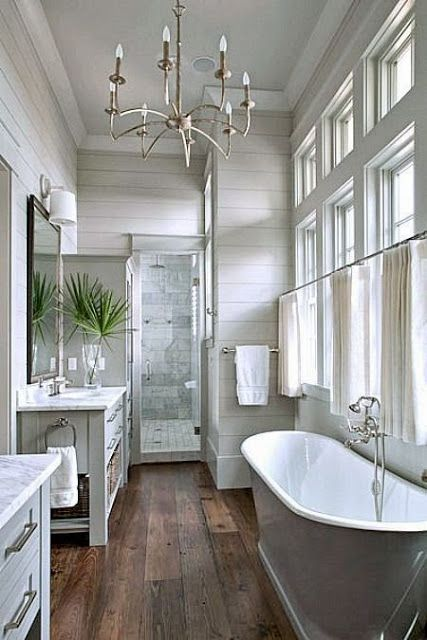 Fifi cheek shiplap walls for Hardwood floors in bathroom