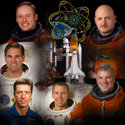 Mission STS 134: Commander Mark Kelly, pilot Gregory H. Johnson and mission specialists Mike Fincke, Greg Chamitoff, Andrew Feustel, and European Space Agency astronaut Roberto Vittori. NASA 2011.