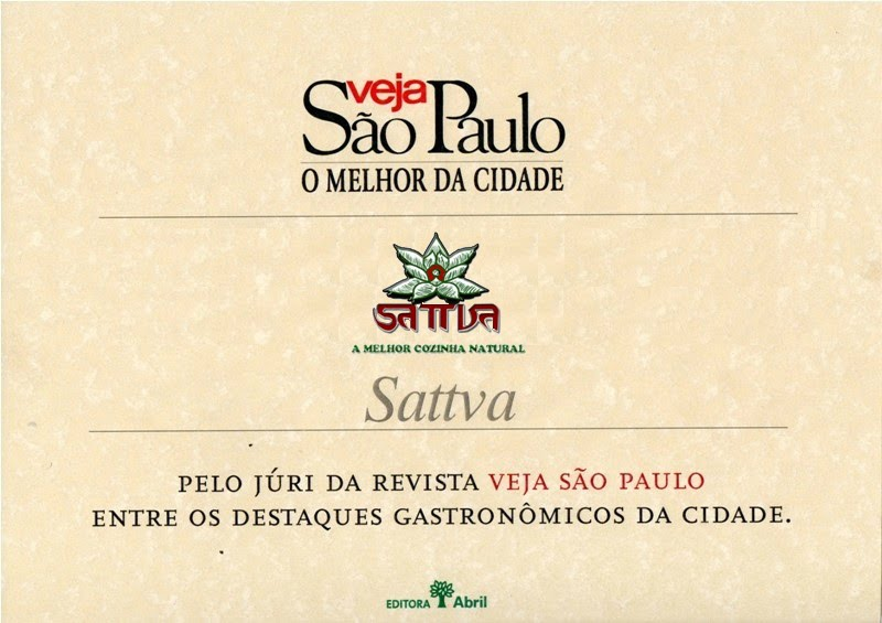 Restaurante Sattva Natural vegetariano desde 1976 - MAIS ANTIGO DO BRASIL