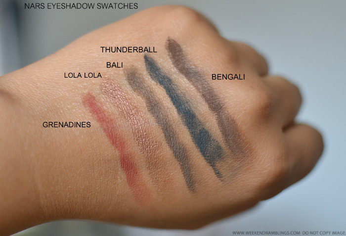 NARS Eyeshadows Grenadines Lola Lola Bali Thunderball Bengali Swatches Indian Makeup Beauty Blog