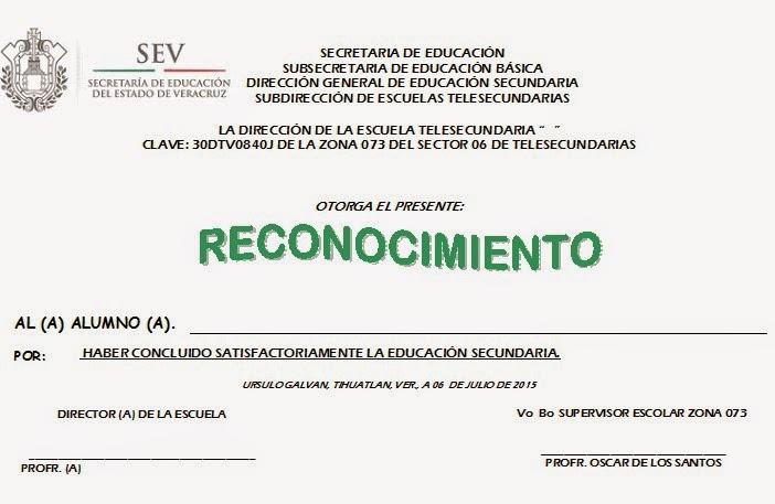 FORMATO DE RECONOCIMIENTO 2015