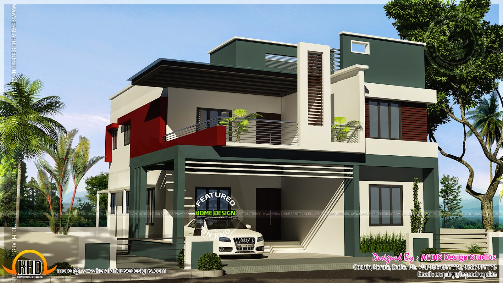 Duplex house contemporary style kerala home design and for Contemporary style homes in kerala