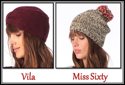 Bonnet turban bordeaux Vila, bonnet pompon Miss Sixty