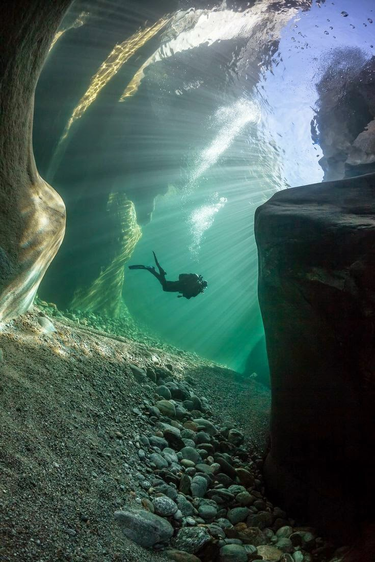 Diving in Verzasca River