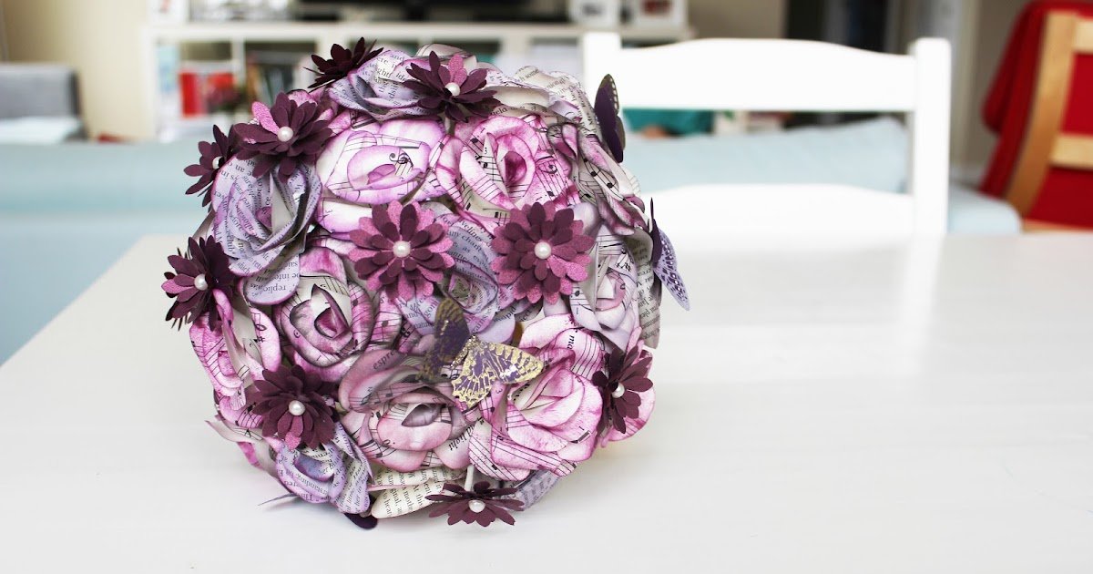 Momichka Sam 39 S Wedding Bouquet Paper Flowers PURPLE BOOK ROSES