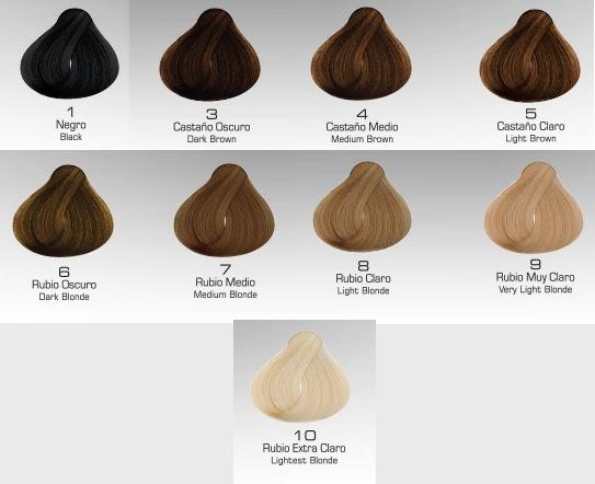 Coloraci n y cuidado del cabello escala intensidad de for Muestras color arena