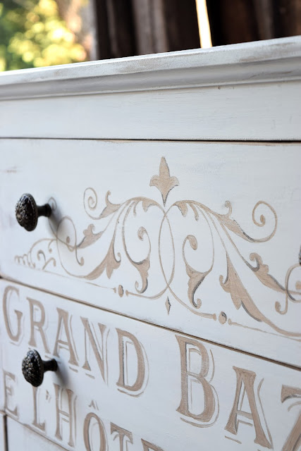 white and gold painted dresser