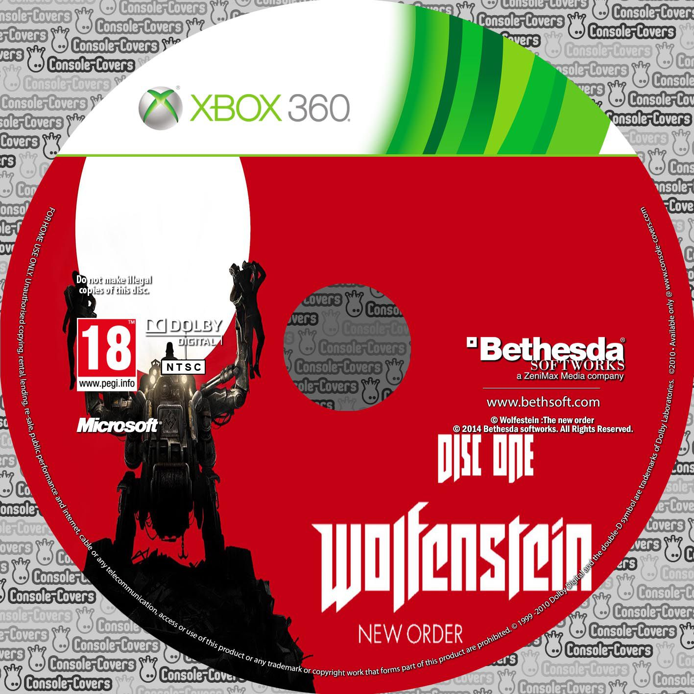 Label Wolfenstein Disc One Xbox 360