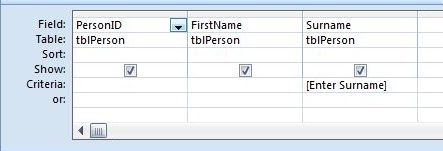 Microsoft access tips how to create a parameter query for Table design grid access