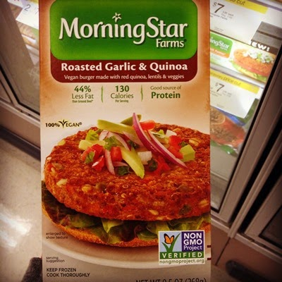 Vegan Vegetarian Food Protein Groceries MorningStar Farms Roasted Garlic & Quinoa Burgers made with red quinoa, lentils, and veggies Veggieburger
