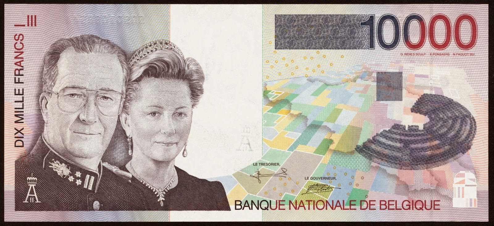Belgium Banknotes 10000 Belgian Francs banknote 1997 King Albert II and Queen Paola