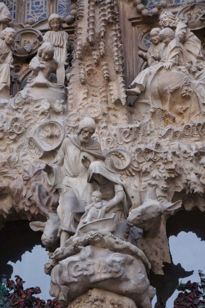 The Sagrada Familia sacred family detail on the exterior.