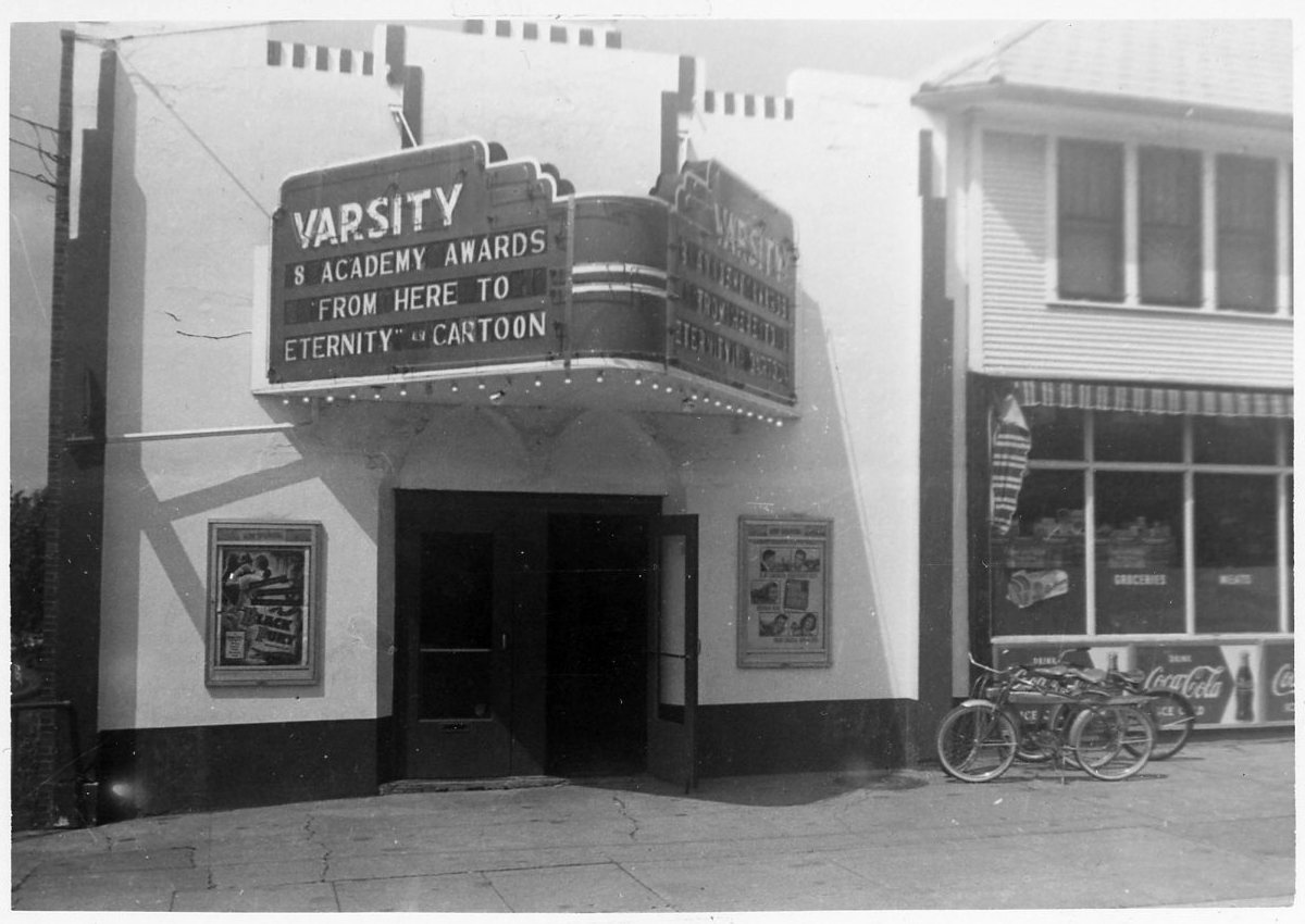 The Varsity movie theater circa 1954. Photo contributed by Rich and Kay Manternach.