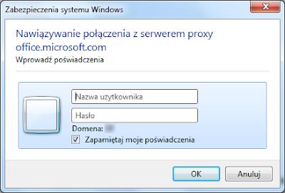 Komunikat o podanie poświadczeń do serwera proxy