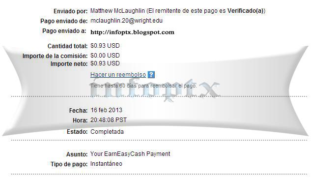 1º pago de earneasycash $0.93 Earneasycash-1p