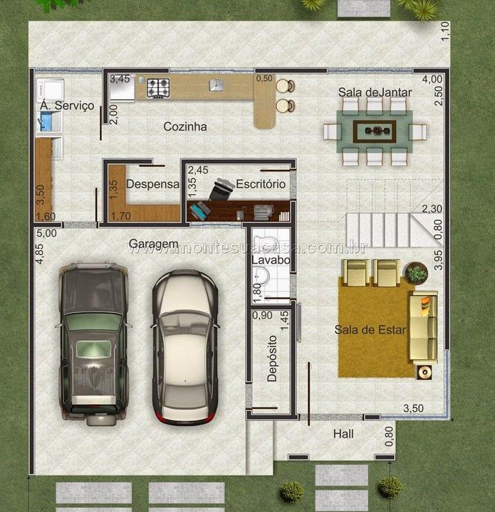 Planta de casa de 2 pavimentos em declive
