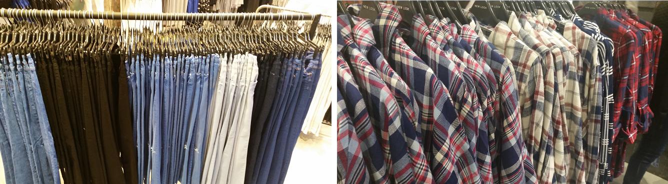 jeans noir, clairs, blanc, brut et chemises à carreaux