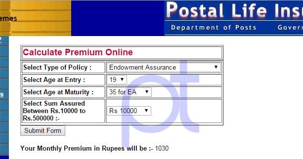 Postal Life Insurance Online Calculator : | PO TOOLS