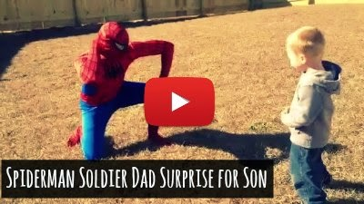 Watch how Homecoming Soldier Dad surprises his 3 year old son Noah by dressing up as his favorite Superhero Spiderman via geniushowto.blogspot.com Homecoming videos