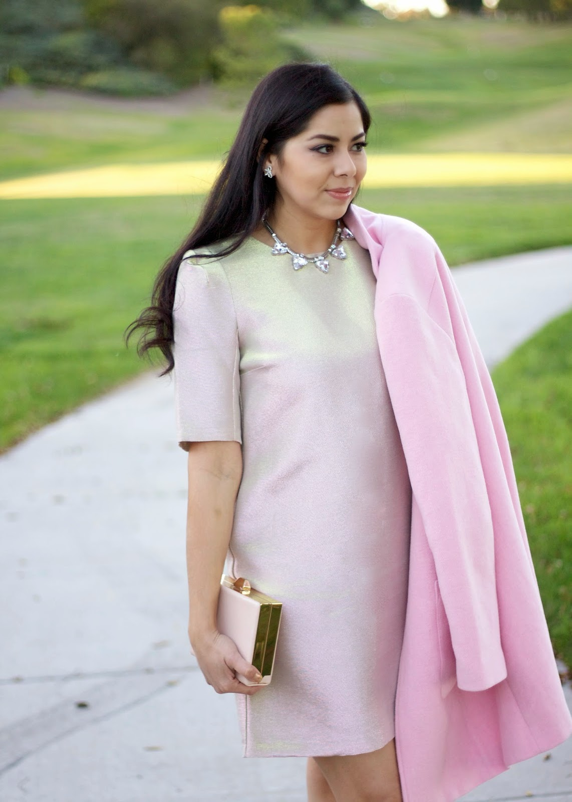 Pink iridescent dress, river island dress, statement dress from River Island, River Island pastel dress, pink dress and pink coat