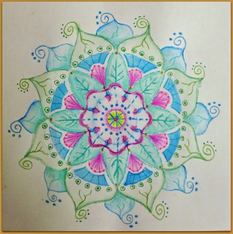 mandala, aquarel, crayons. pencils
