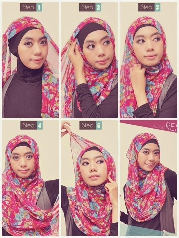cara memakai jilbab pashmina sifon motif