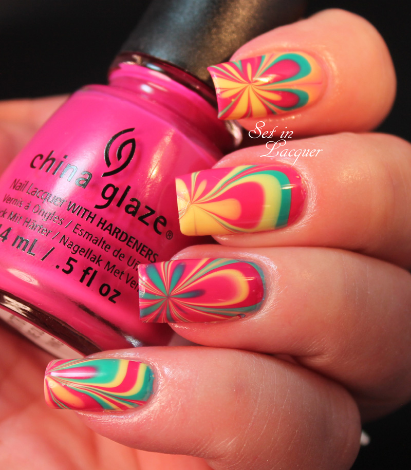 Water marble nail art using China Glaze Off Shore Collection