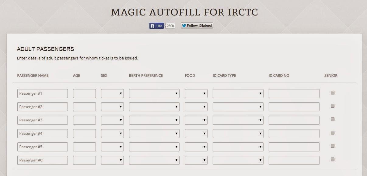 magic autofill for Irctc