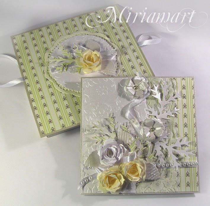 Kartka na ślub w bieli i zieleni.