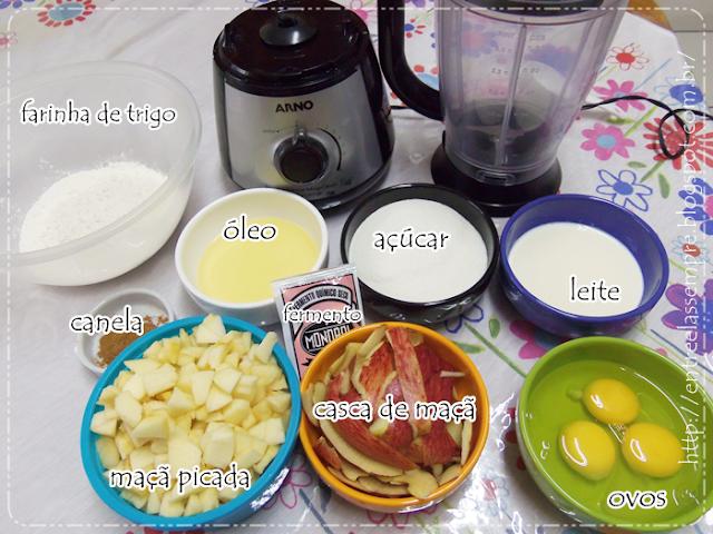 Ingredientes bolo maçã com canela