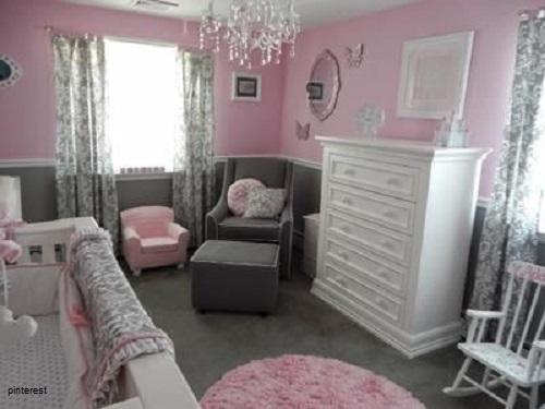 decoration chambre bebe fille rose et