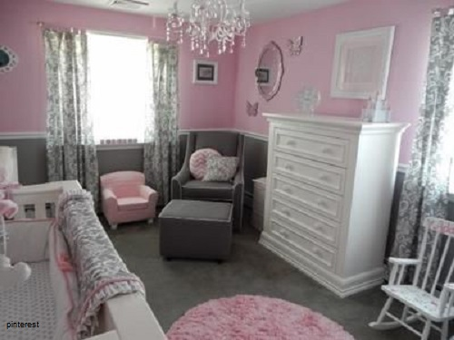 d coration chambre b b fille rose et gris b b et. Black Bedroom Furniture Sets. Home Design Ideas