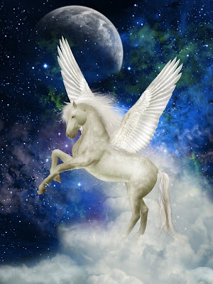 Pegaso de color blanco con luna y estrellas