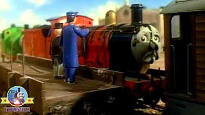 Main railway yard Sir Topham Hatt met steam tank James and Percy and Toby the tram engine Henrietta