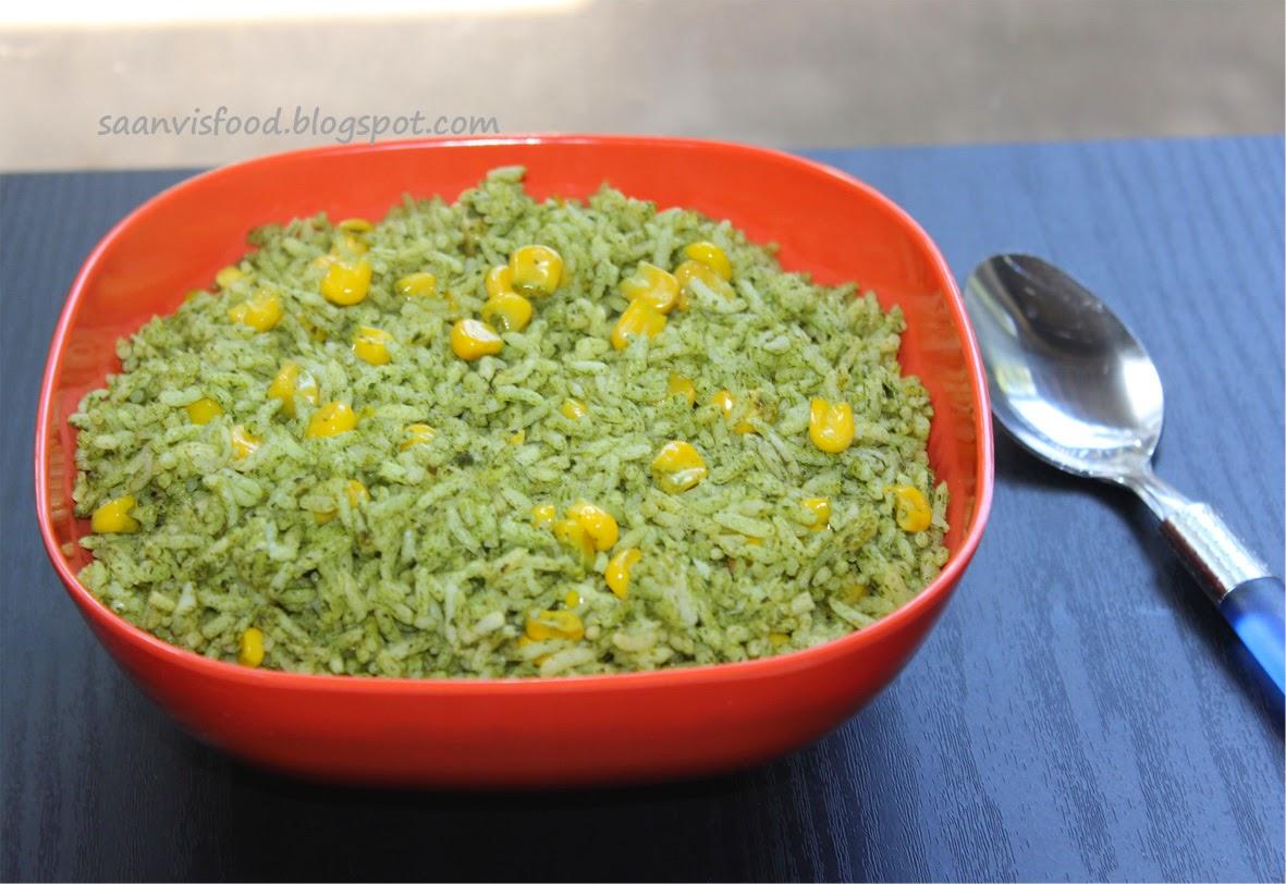 Palak Corn Rice (Spinach Corn Rice)