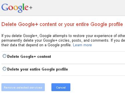 Google+ - Downgrade from Google+