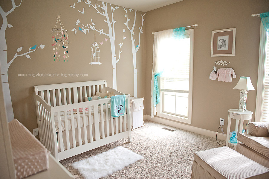 I heart pears pink and aqua bird nursery - Baby nursery neutral colors ...