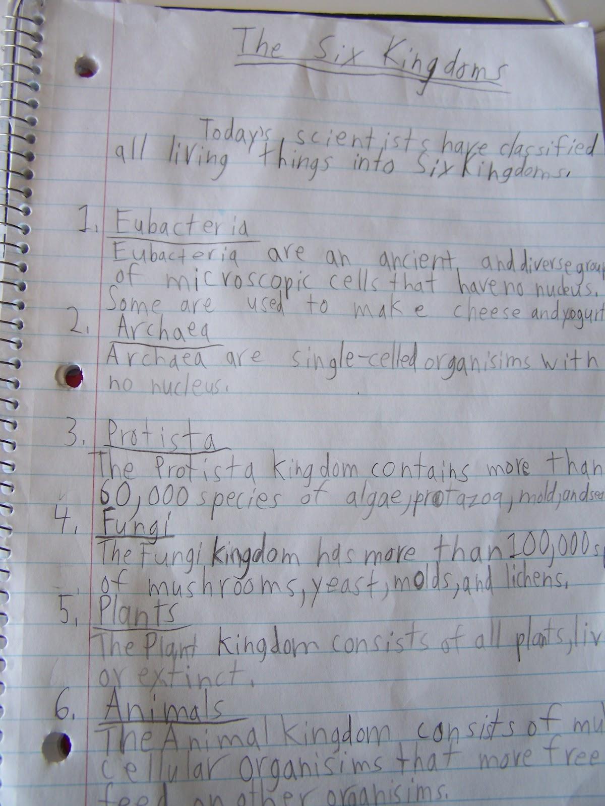 Walnut Hill Homeschool Learning about the Six Kingdoms of Life – The Six Kingdoms Worksheet