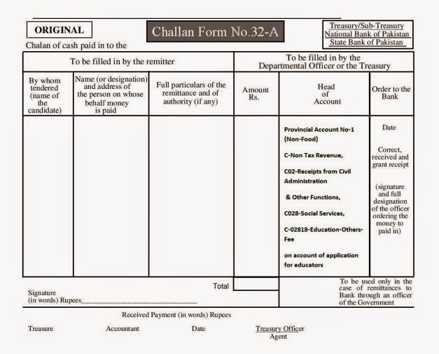 Punjab Educators Challan Form 32,A 2015