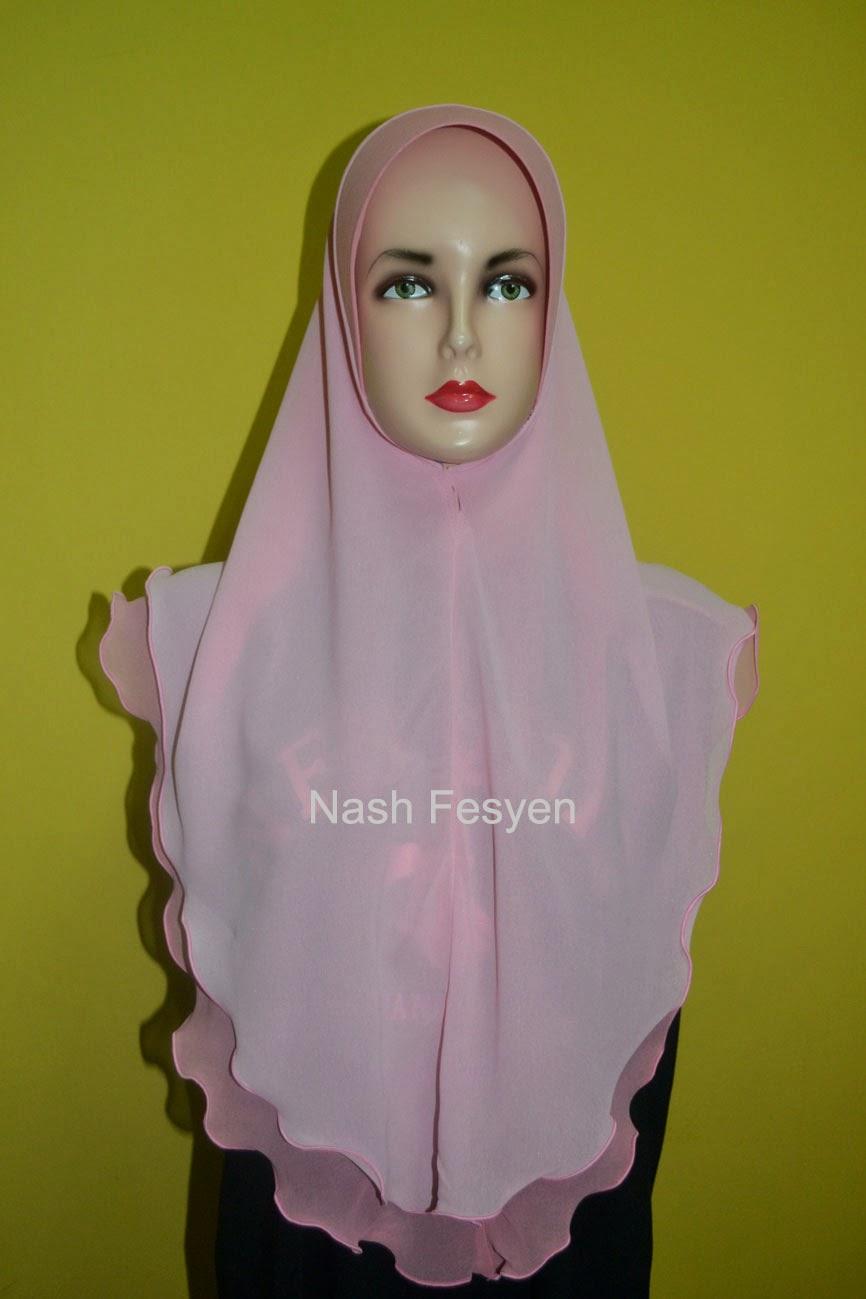 tudung 2 layer pink